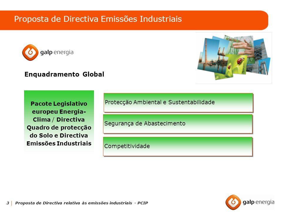 3 Proposta de Directiva relativa às emissões industriais - PCIP Enquadramento Global Pacote Legislativo europeu Energia- Clima / Directiva Quadro de p