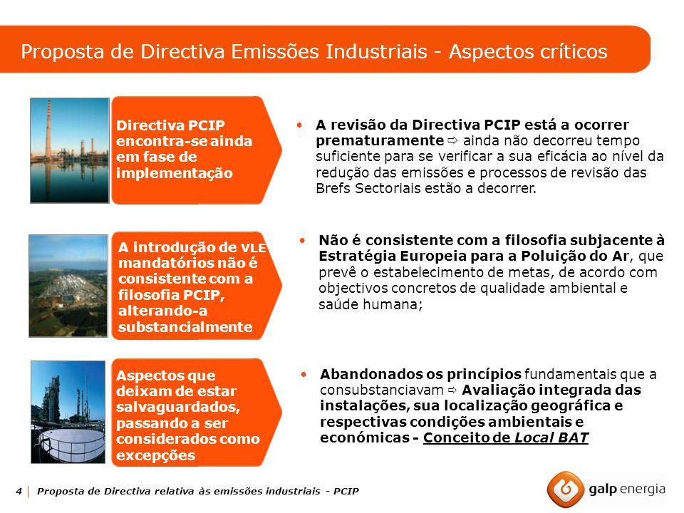 4 Proposta de Directiva relativa às emissões industriais - PCIP Directiva PCIP encontra-se ainda em fase de implementação A revisão da Directiva PCIP