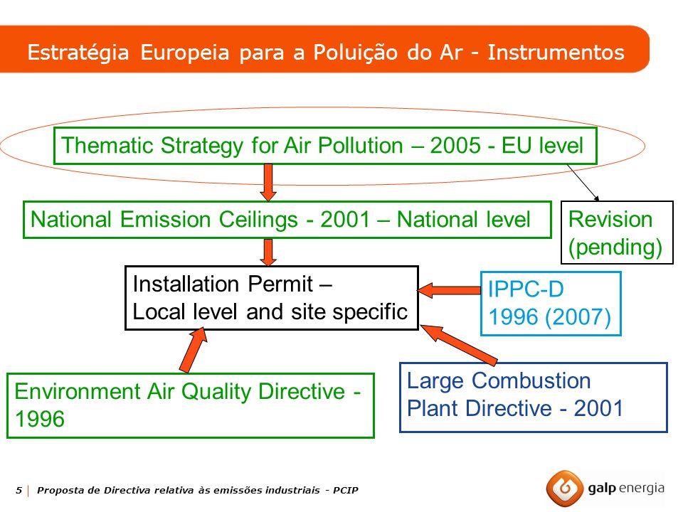 5 Proposta de Directiva relativa às emissões industriais - PCIP National Emission Ceilings - 2001 – National level Installation Permit – Local level a