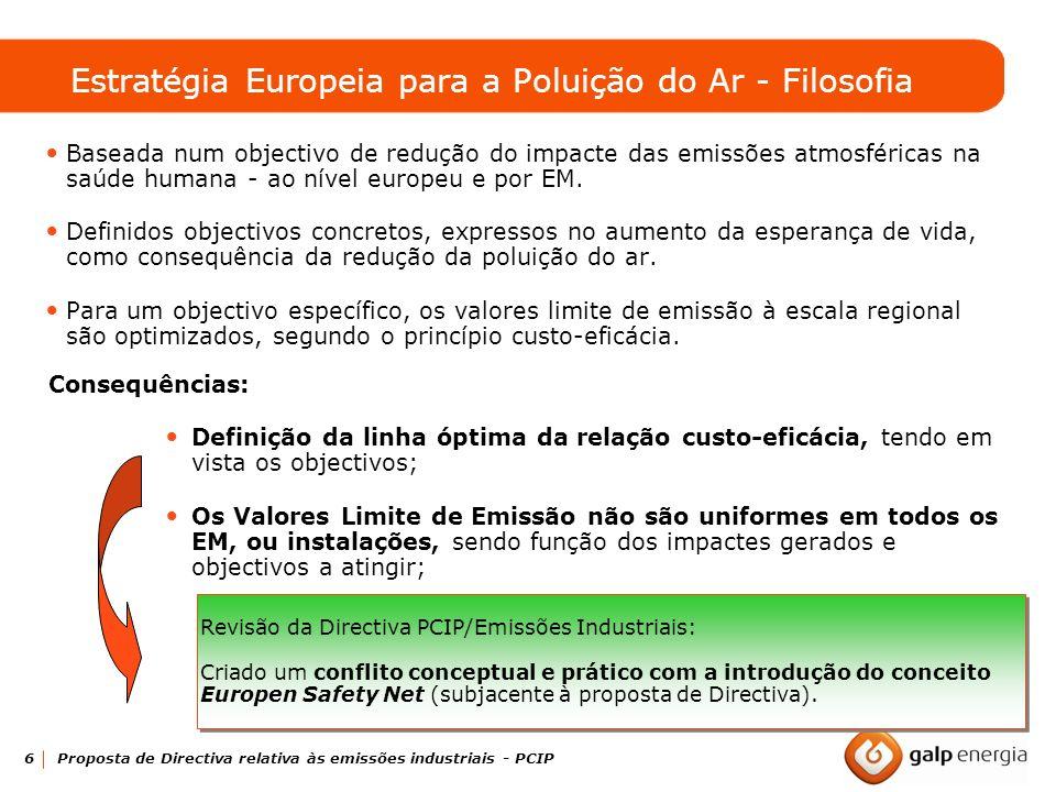 6 Proposta de Directiva relativa às emissões industriais - PCIP Estratégia Europeia para a Poluição do Ar - Filosofia Baseada num objectivo de redução