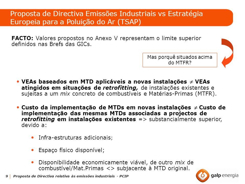 9 Proposta de Directiva relativa às emissões industriais - PCIP FACTO: Valores propostos no Anexo V representam o limite superior definidos nas Brefs