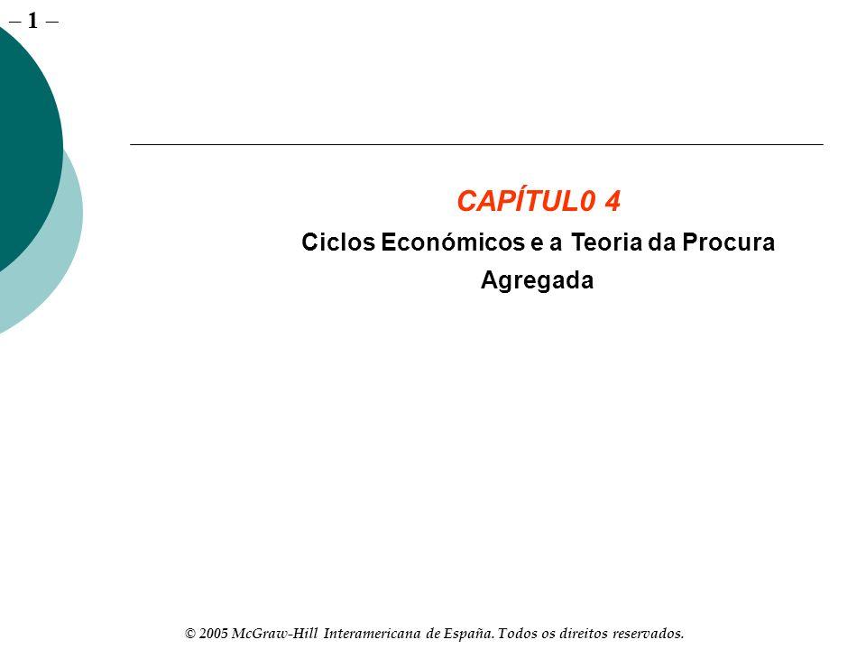 – 1 © 2005 McGraw-Hill Interamericana de España. Todos os direitos reservados. CAPÍTUL0 4 Ciclos Económicos e a Teoria da Procura Agregada