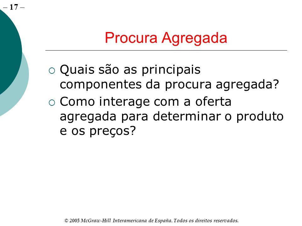 – 17 © 2005 McGraw-Hill Interamericana de España. Todos os direitos reservados. Procura Agregada Quais são as principais componentes da procura agrega