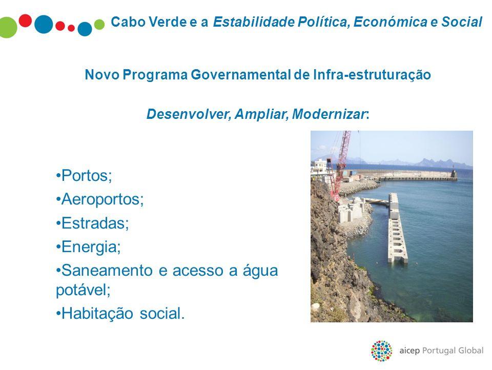 Cabo Verde e a Estabilidade Política, Económica e Social Novo Programa Governamental de Infra-estruturação Desenvolver, Ampliar, Modernizar: Portos; A