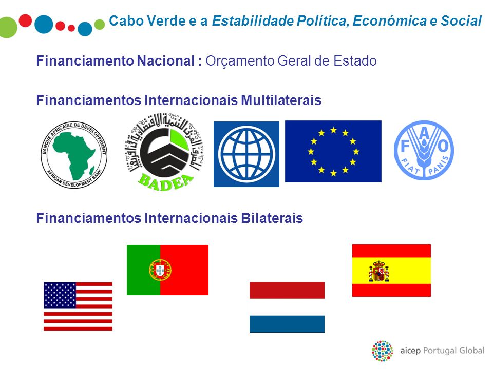Cabo Verde e a Estabilidade Política, Económica e Social Financiamento Nacional : Orçamento Geral de Estado Financiamentos Internacionais Multilaterai