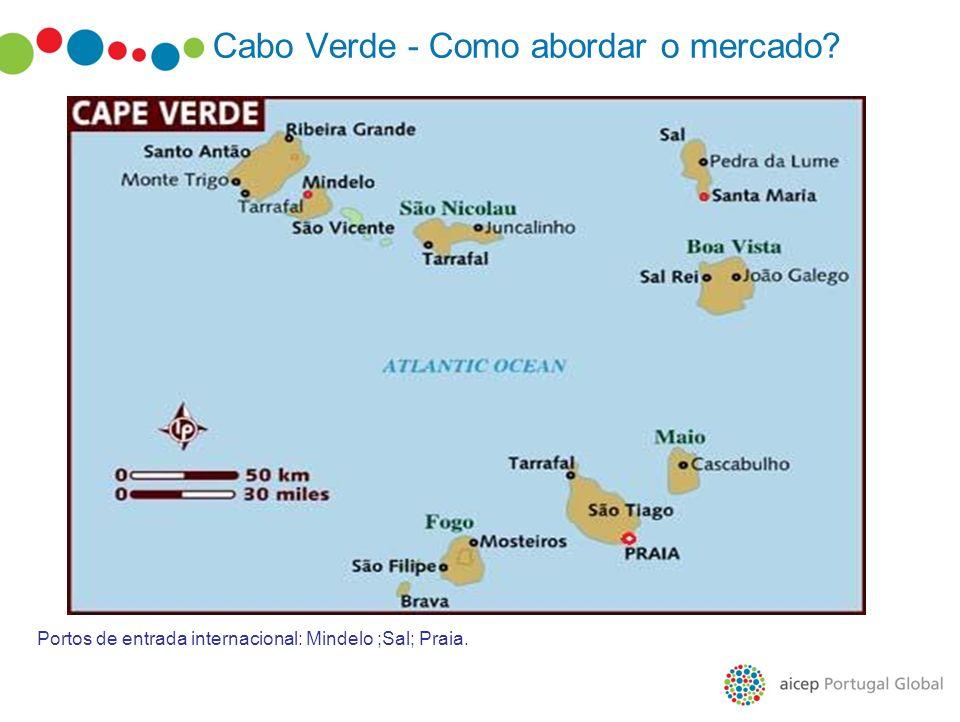 Cabo Verde - Como abordar o mercado? Portos de entrada internacional: Mindelo ;Sal; Praia.