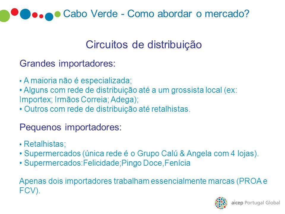 Cabo Verde - Como abordar o mercado? Circuitos de distribuição Grandes importadores: A maioria não é especializada; Alguns com rede de distribuição at