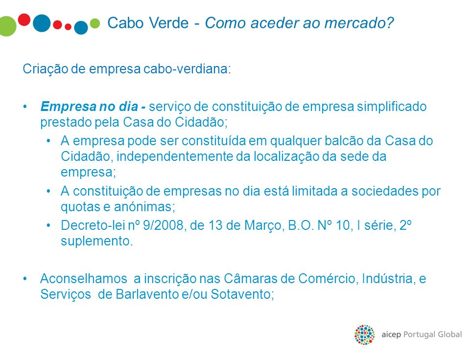 Cabo Verde - Como aceder ao mercado? Criação de empresa cabo-verdiana: Empresa no dia - serviço de constituição de empresa simplificado prestado pela