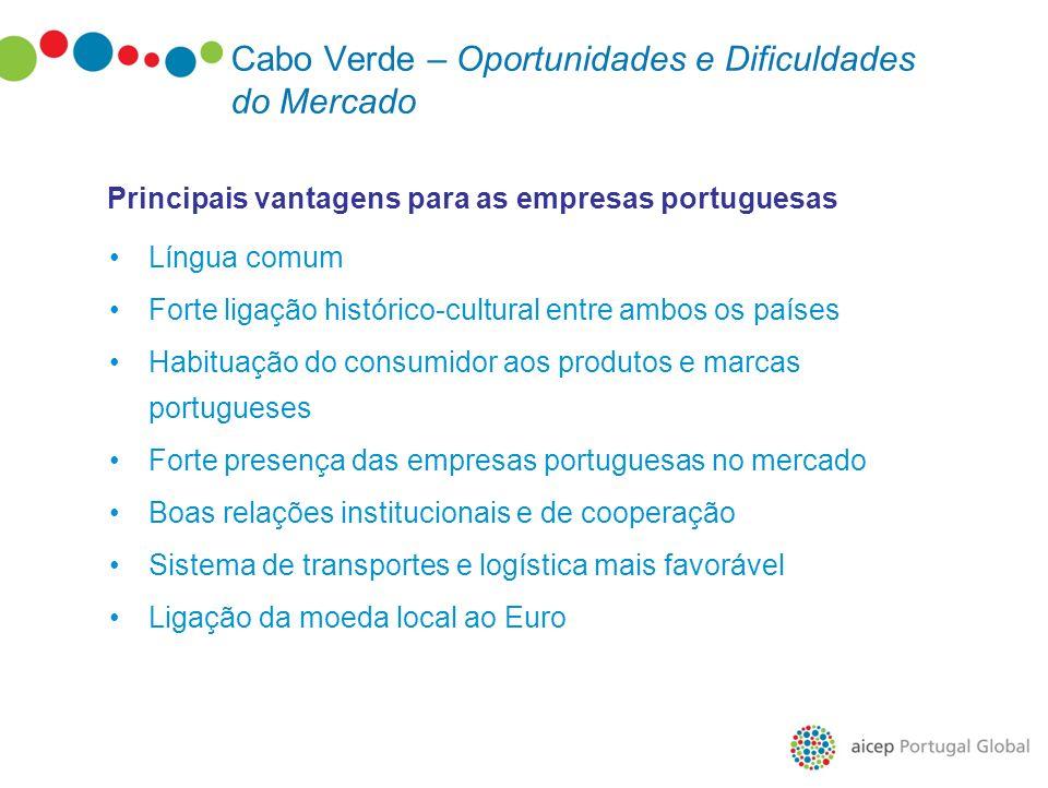 Língua comum Forte ligação histórico-cultural entre ambos os países Habituação do consumidor aos produtos e marcas portugueses Forte presença das empr