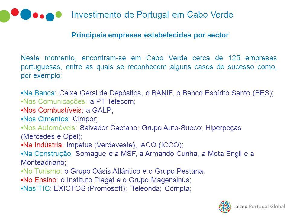 Investimento de Portugal em Cabo Verde Principais empresas estabelecidas por sector Neste momento, encontram-se em Cabo Verde cerca de 125 empresas po