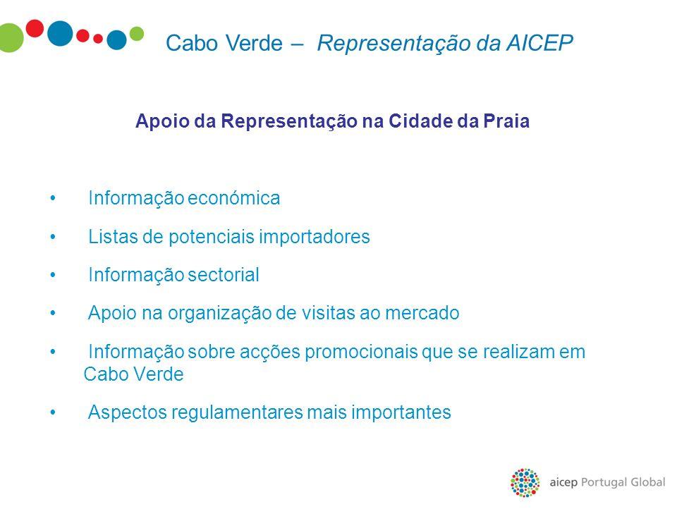 Apoio da Representação na Cidade da Praia Informação económica Listas de potenciais importadores Informação sectorial Apoio na organização de visitas