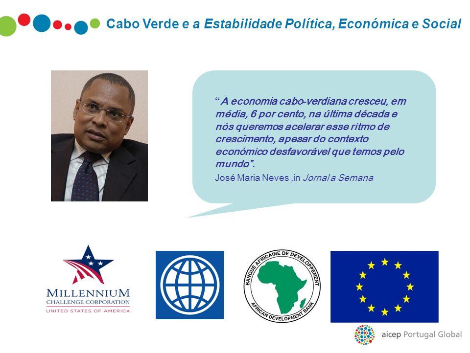 Cabo Verde e a Estabilidade Política, Económica e Social A economia cabo-verdiana cresceu, em média, 6 por cento, na última década e nós queremos acel