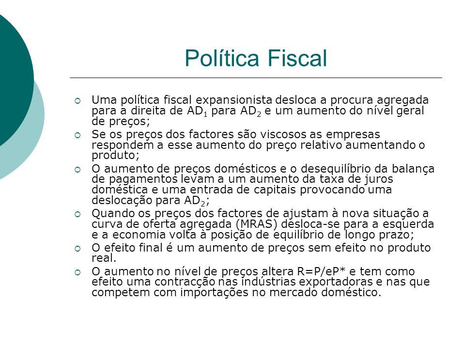 Política Fiscal Uma política fiscal expansionista desloca a procura agregada para a direita de AD 1 para AD 2 e um aumento do nível geral de preços; S
