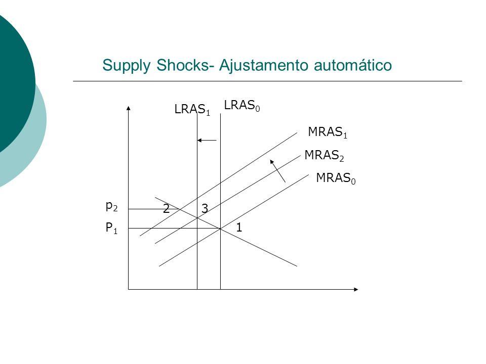 Supply Shocks- Ajustamento automático P1P1 LRAS 0 LRAS 1 MRAS 0 MRAS 1 1 2 p2p2 3 MRAS 2