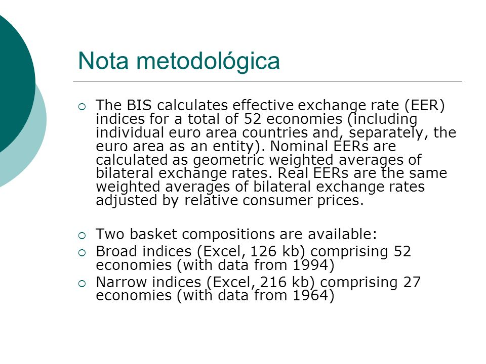 Nota metodológica The BIS calculates effective exchange rate (EER) indices for a total of 52 economies (including individual euro area countries and,