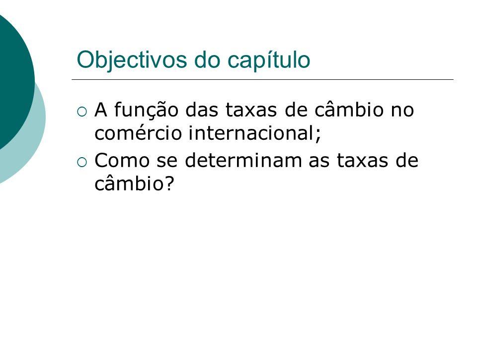 Objectivos do capítulo A função das taxas de câmbio no comércio internacional; Como se determinam as taxas de câmbio?