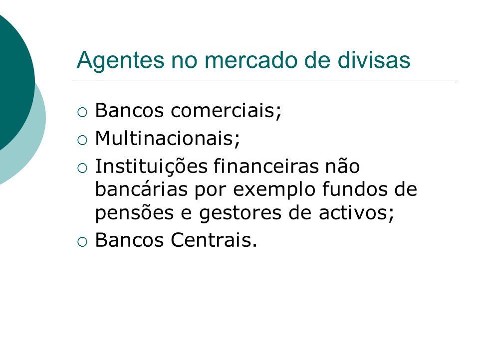 Agentes no mercado de divisas Bancos comerciais; Multinacionais; Instituições financeiras não bancárias por exemplo fundos de pensões e gestores de activos; Bancos Centrais.