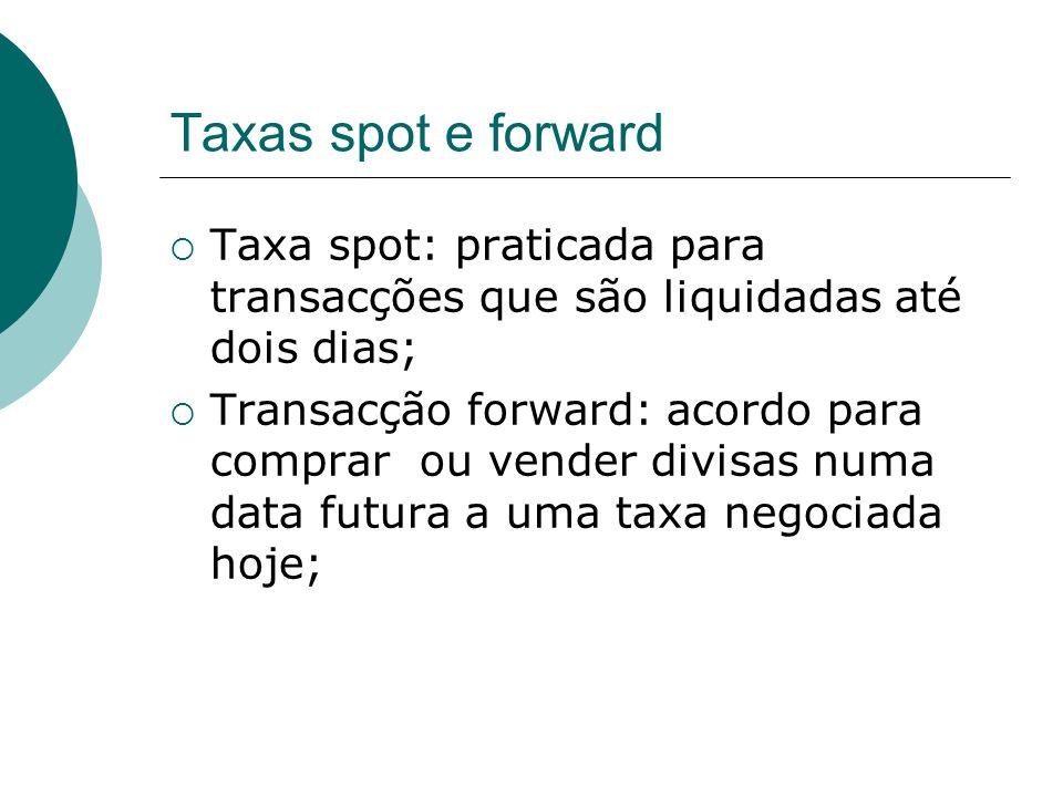 Taxas spot e forward Taxa spot: praticada para transacções que são liquidadas até dois dias; Transacção forward: acordo para comprar ou vender divisas numa data futura a uma taxa negociada hoje;