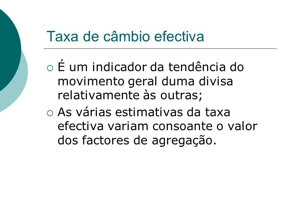 Taxa de câmbio efectiva É um indicador da tendência do movimento geral duma divisa relativamente às outras; As várias estimativas da taxa efectiva variam consoante o valor dos factores de agregação.