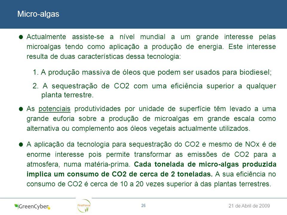 21 de Abril de 2009 26 Micro-algas Actualmente assiste-se a nível mundial a um grande interesse pelas microalgas tendo como aplicação a produção de en