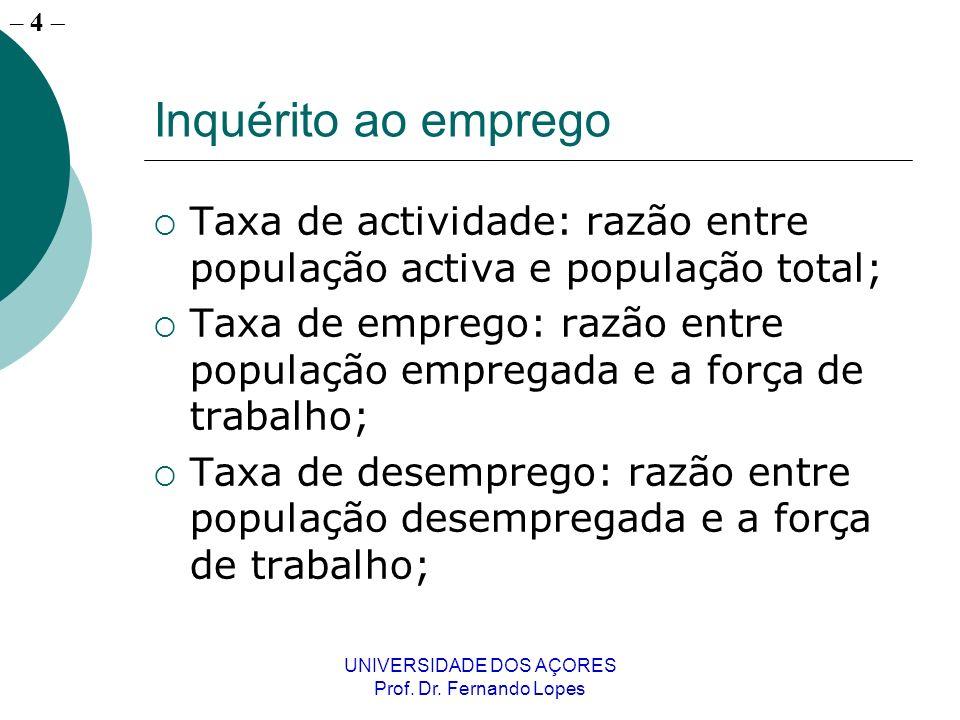 – 4 UNIVERSIDADE DOS AÇORES Prof. Dr. Fernando Lopes Inquérito ao emprego Taxa de actividade: razão entre população activa e população total; Taxa de
