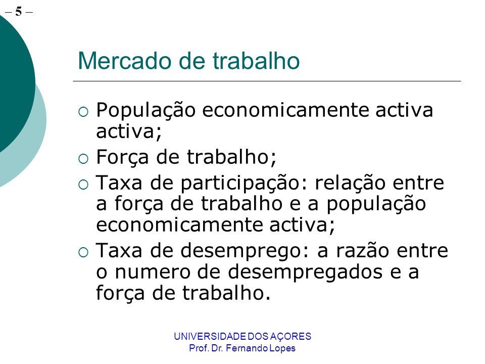 – 5 UNIVERSIDADE DOS AÇORES Prof. Dr. Fernando Lopes Mercado de trabalho População economicamente activa activa; Força de trabalho; Taxa de participaç