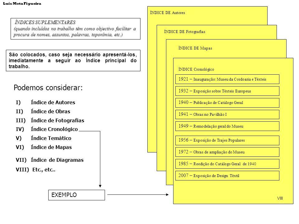 ÍNDICES SUPLEMENTARES ÍNDICES SUPLEMENTARES (quando incluídos no trabalho têm como objectivo facilitar a procura de nomes, assuntos, palavras, toponím