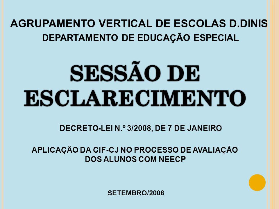 AGRUPAMENTO VERTICAL DE ESCOLAS D.DINIS DEPARTAMENTO DE EDUCAÇÃO ESPECIAL DECRETO-LEI N.º 3/2008, DE 7 DE JANEIRO APLICAÇÃO DA CIF-CJ NO PROCESSO DE A