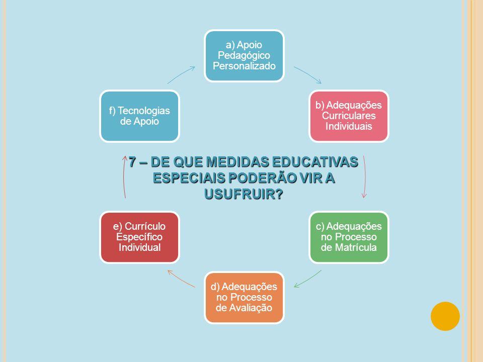 a) Apoio Pedagógico Personalizado b) Adequações Curriculares Individuais c) Adequações no Processo de Matrícula d) Adequações no Processo de Avaliação