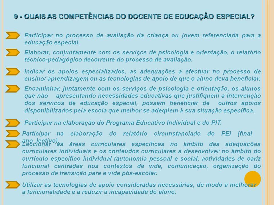 9 - QUAIS AS COMPETÊNCIAS DO DOCENTE DE EDUCAÇÃO ESPECIAL? Participar no processo de avaliação da criança ou jovem referenciada para a educação especi