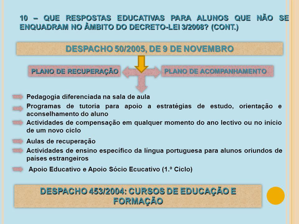 DESPACHO 50/2005, DE 9 DE NOVEMBRO DESPACHO 453/2004: CURSOS DE EDUCAÇÃO E FORMAÇÃO 10 – QUE RESPOSTAS EDUCATIVAS PARA ALUNOS QUE NÃO SE ENQUADRAM NO
