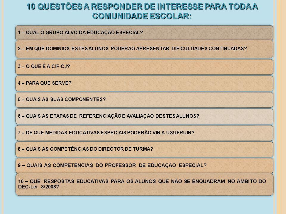 1 – QUAL O GRUPO-ALVO DA EDUCAÇÃO ESPECIAL? 2 – EM QUE DOMÍNIOS ESTES ALUNOS PODERÃO APRESENTAR DIFICULDADES CONTINUADAS? 3 – O QUE É A CIF-CJ?4 – PAR
