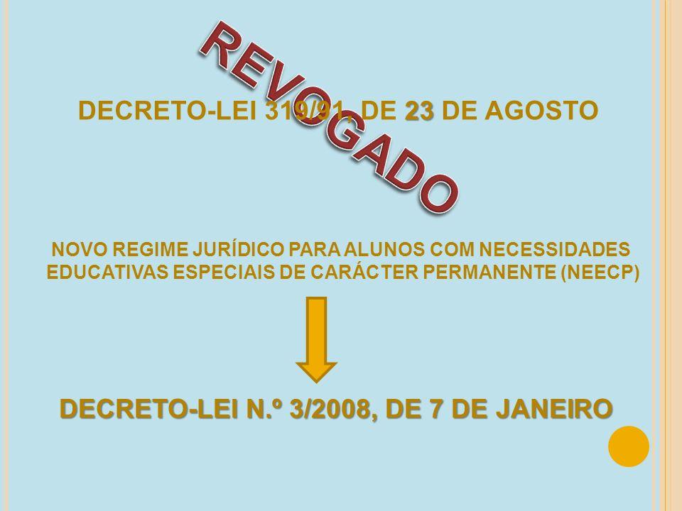 23 DECRETO-LEI 319/91, DE 23 DE AGOSTO NOVO REGIME JURÍDICO PARA ALUNOS COM NECESSIDADES EDUCATIVAS ESPECIAIS DE CARÁCTER PERMANENTE (NEECP) DECRETO-L