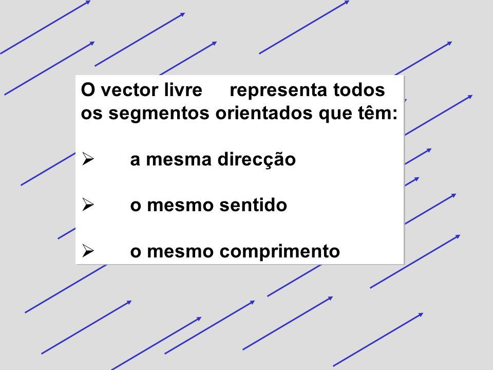 O vector livre representa todos os segmentos orientados que têm: a mesma direcção o mesmo sentido o mesmo comprimento O vector livre representa todos