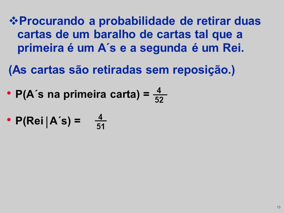 12 P(A´s na primeira carta) = 4 52 Procurando a probabilidade de retirar duas cartas de um baralho de cartas tal que a primeira é um A´s e a segunda é
