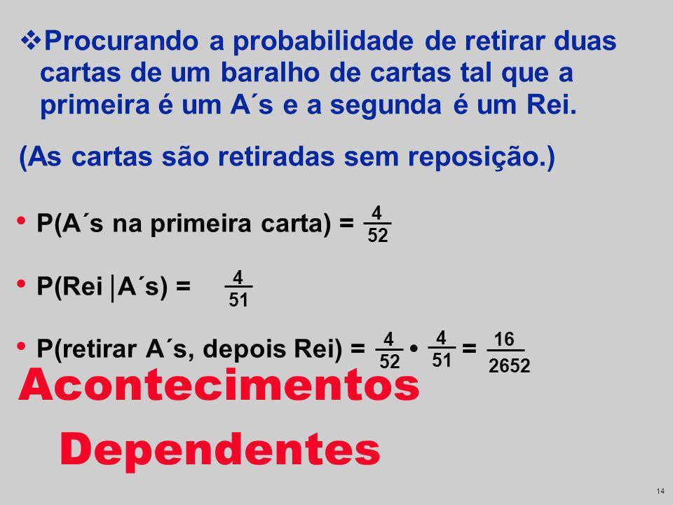 13 P(A´s na primeira carta) = P(Rei A´s) = 4 51 4 52 Procurando a probabilidade de retirar duas cartas de um baralho de cartas tal que a primeira é um