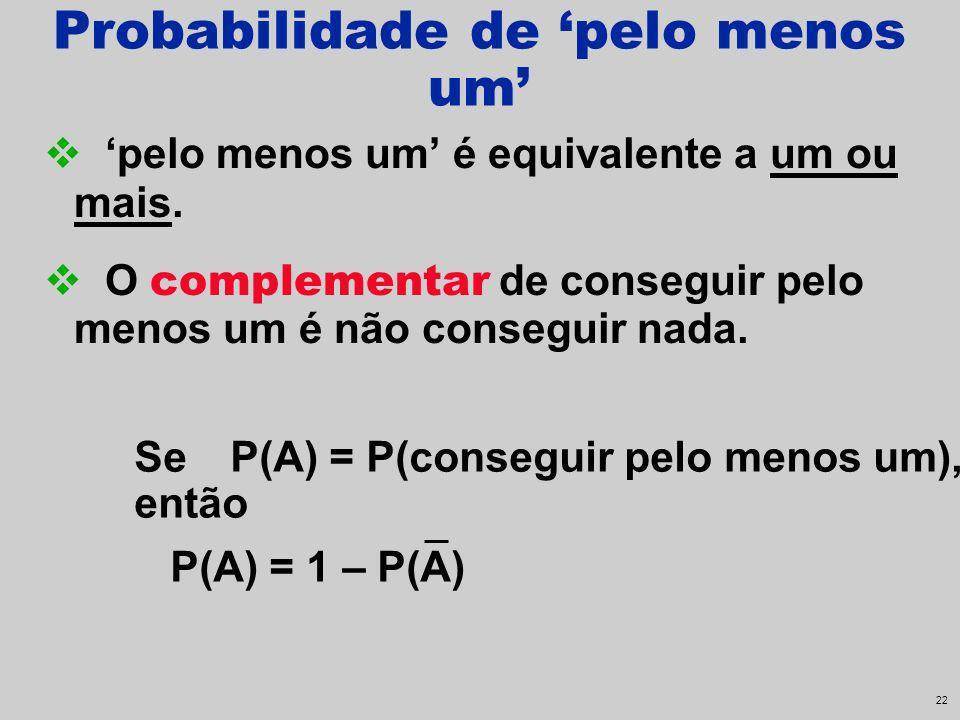 21 Probabilidade de pelo menos um pelo menos um é equivalente a um ou mais. O complementar de conseguir pelo menos um é não conseguir nada. SeP(A) = P
