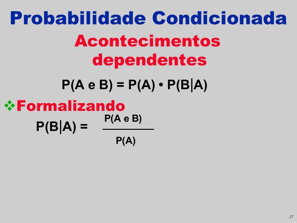 26 Probabilidade Condicionada Acontecimentos dependentes P(A e B) = P(A) P(B | A) Formalizando