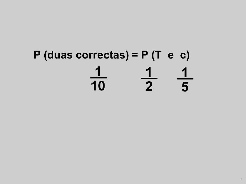 7 P (duas correctas) = P (T e c)