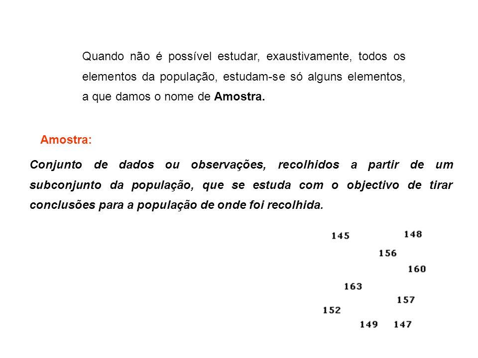 Relativamente à população das alturas dos alunos do 10º ano matriculados na Escola Secundária dos Olivais, nº 2, consideremos a seguinte amostra, constituída pelas alturas (em cm) de 20 alunos escolhidos ao acaso: Exemplos: 145, 163, 157, 152, 156, 149, 160, 157, 148, 147, 151, 152, 150, 148, 156, 160, 148, 157, 153, 162