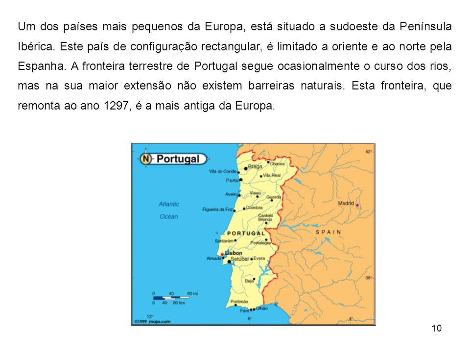 10 Um dos países mais pequenos da Europa, está situado a sudoeste da Península Ibérica. Este país de configuração rectangular, é limitado a oriente e