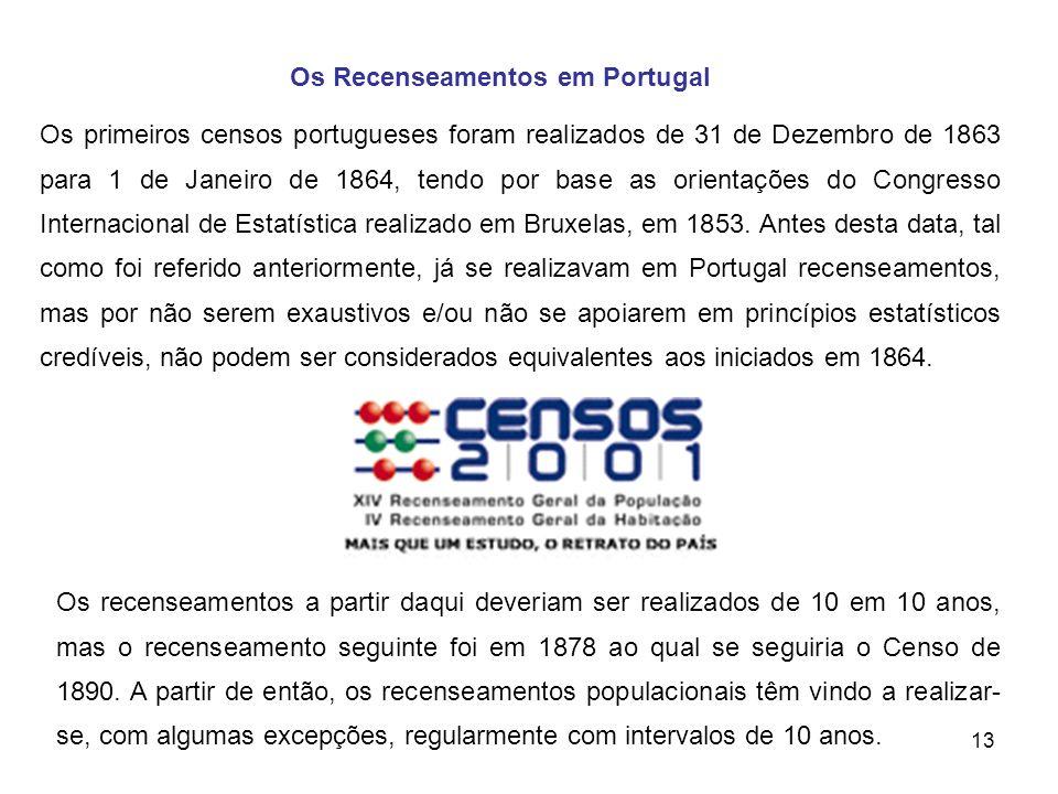 13 Os primeiros censos portugueses foram realizados de 31 de Dezembro de 1863 para 1 de Janeiro de 1864, tendo por base as orientações do Congresso In