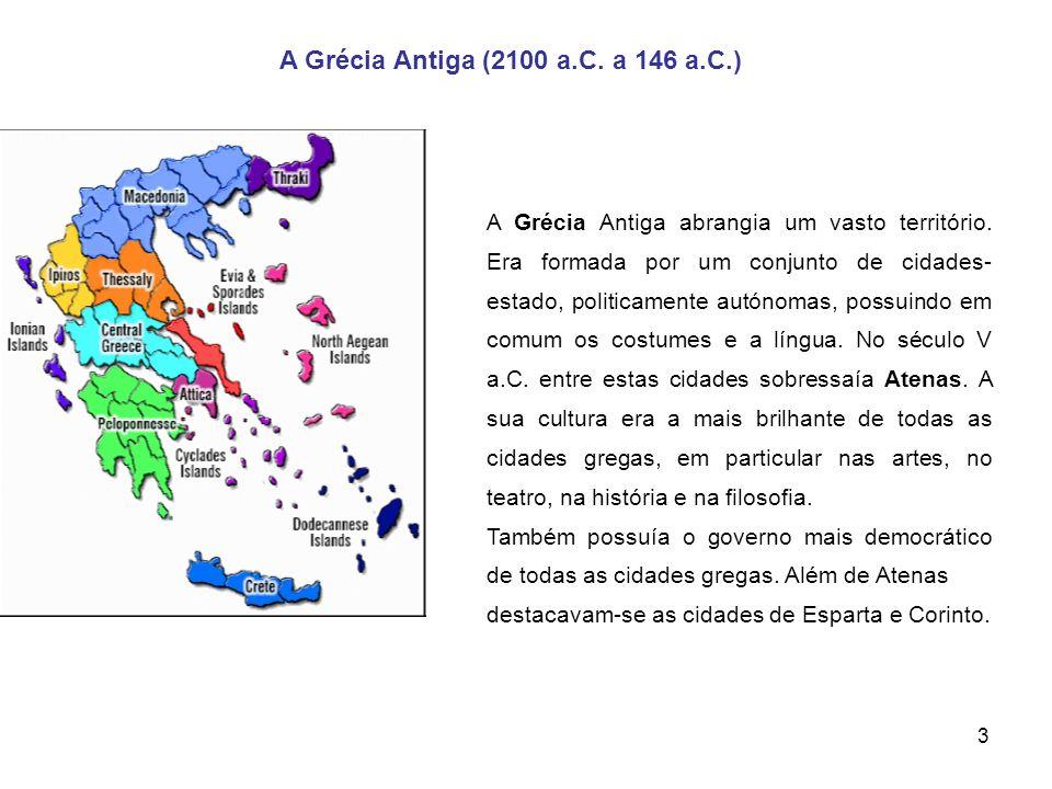 3 A Grécia Antiga (2100 a.C. a 146 a.C.) A Grécia Antiga abrangia um vasto território. Era formada por um conjunto de cidades- estado, politicamente a