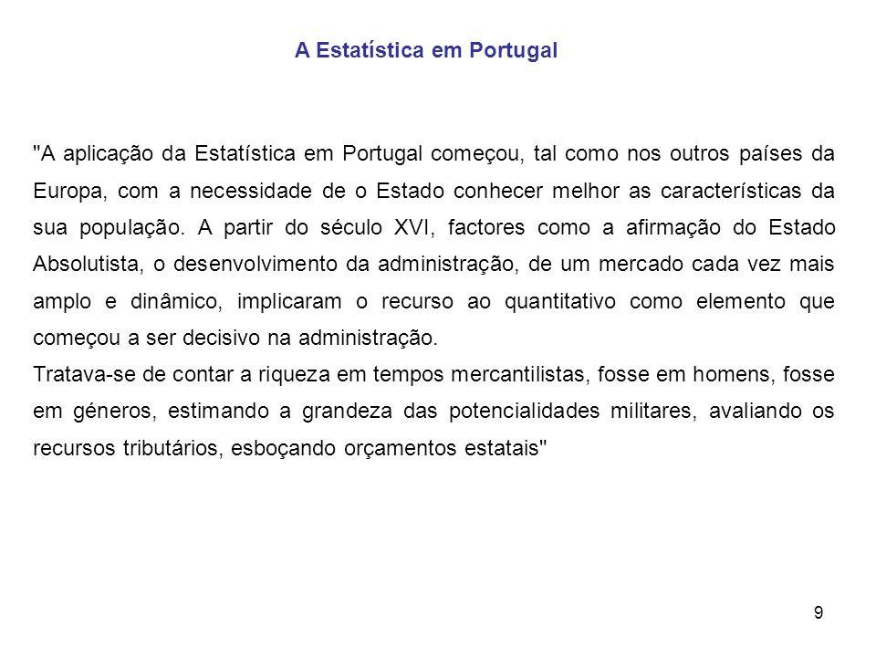 9 A Estatística em Portugal