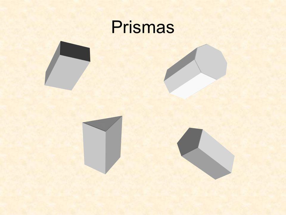 Propriedades dos Prismas Poliedros com 2 polígonos geometricamente iguais e paralelos (bases).