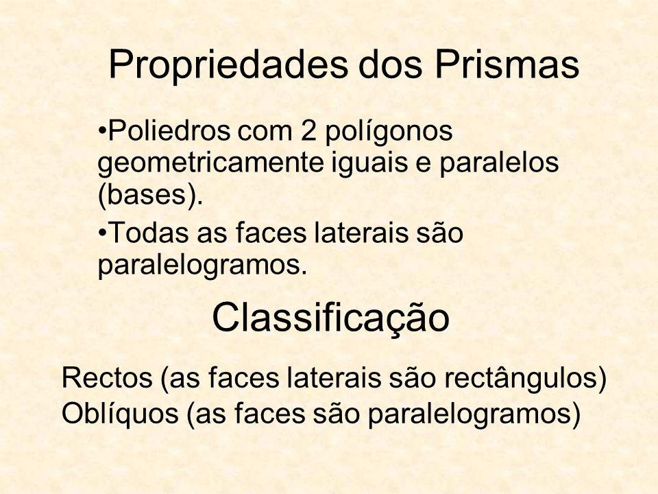 Propriedades dos Prismas Poliedros com 2 polígonos geometricamente iguais e paralelos (bases). Todas as faces laterais são paralelogramos. Classificaç
