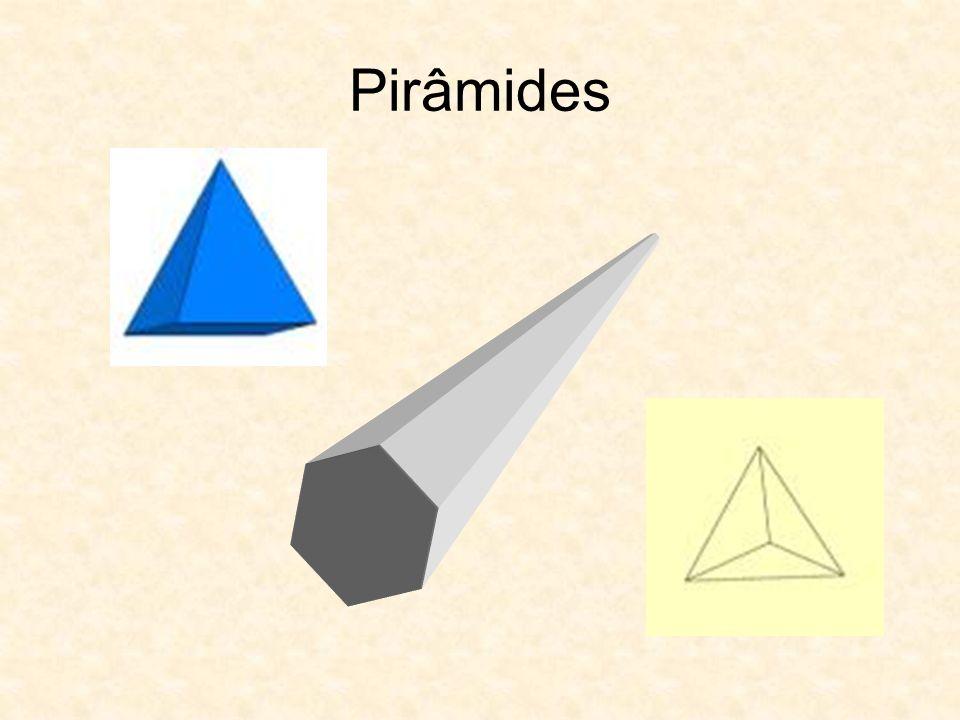 Propriedades da Pirâmide As faces laterais são triângulos Classificação Classificam-se de acordo com o polígono da base (triangular, quadrangular, etc.) Pirâmides rectas (os lados são triângulos geometricamente iguais) Pirâmides oblíquas (as faces laterais não são congruentes)