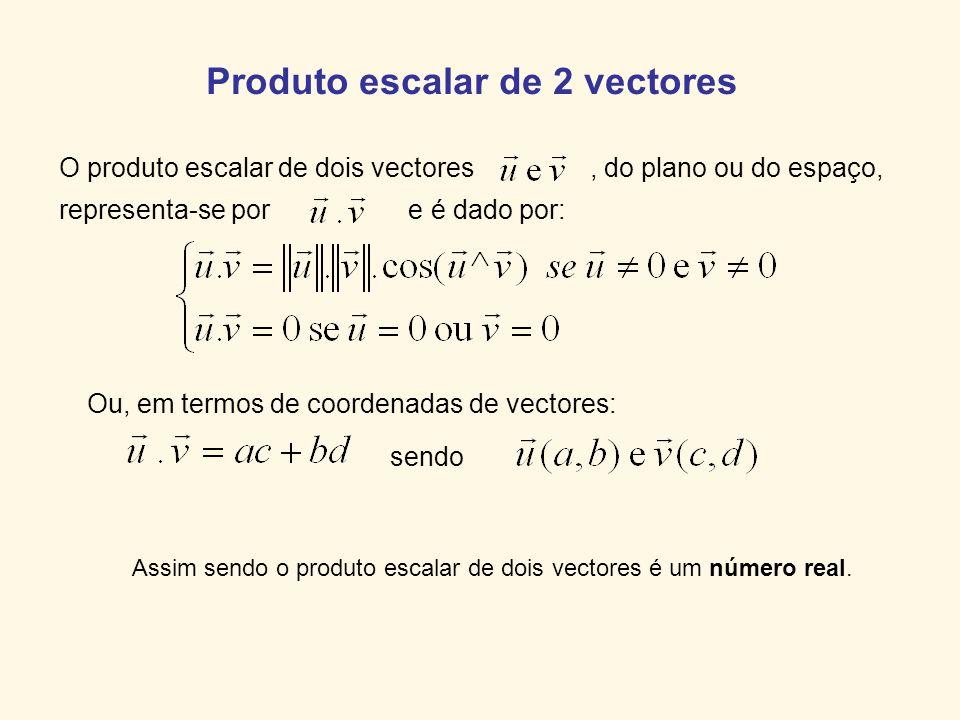 Produto escalar de 2 vectores O produto escalar de dois vectores, do plano ou do espaço, representa-se por e é dado por: Assim sendo o produto escalar