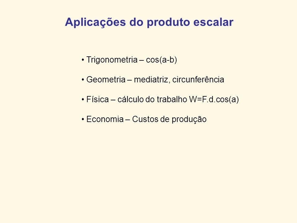 Aplicações do produto escalar Trigonometria – cos(a-b) Geometria – mediatriz, circunferência Física – cálculo do trabalho W=F.d.cos(a) Economia – Cust