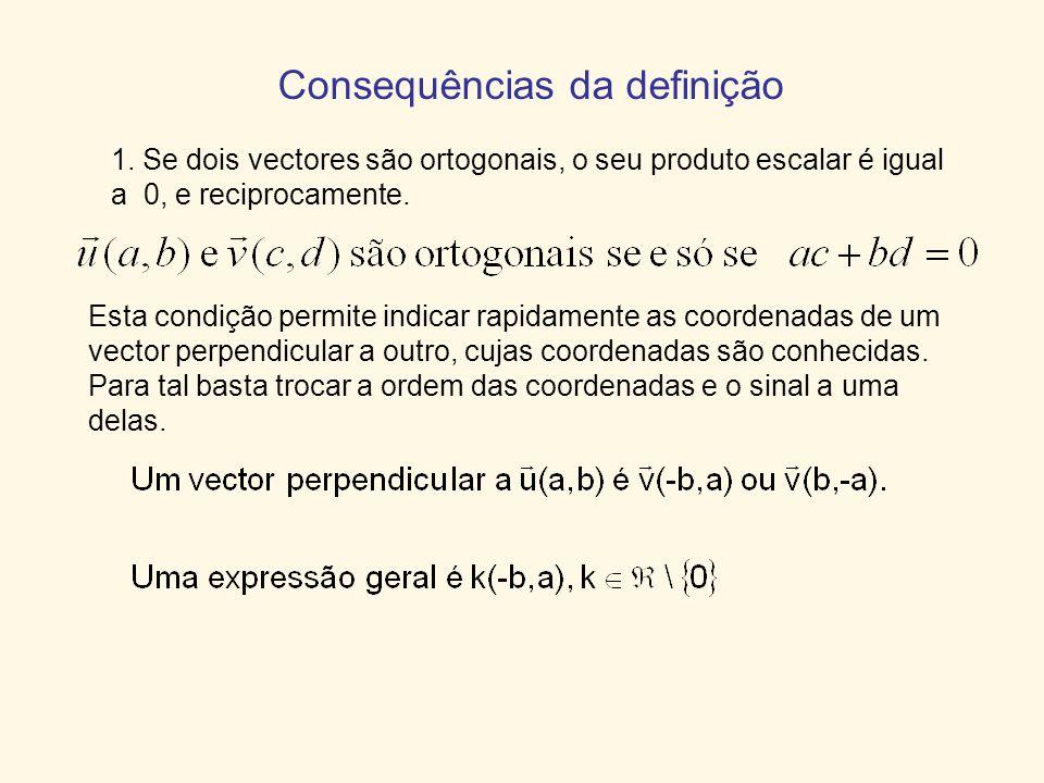 Consequências da definição 1. Se dois vectores são ortogonais, o seu produto escalar é igual a 0, e reciprocamente. Esta condição permite indicar rapi